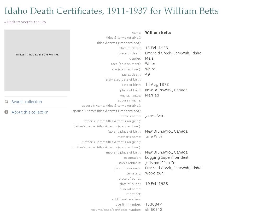 Index of genealogygraphicsbetts 1928 02 15 william betts death certificate 1betcityfo Choice Image
